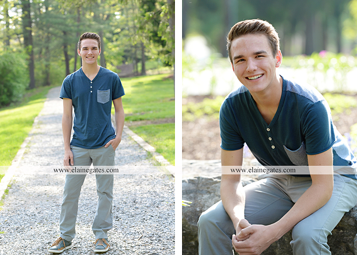 Mechanicsburg Central PA senior portrait photographer outdoor boy guy path rocks covered bridge messiah college wooden beams water stream creek grass brick steps field chair hello jm 01