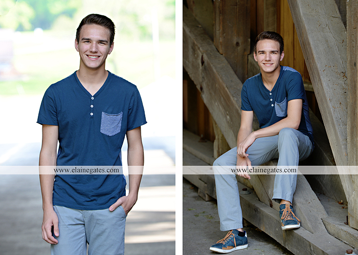 Mechanicsburg Central PA senior portrait photographer outdoor boy guy path rocks covered bridge messiah college wooden beams water stream creek grass brick steps field chair hello jm 02