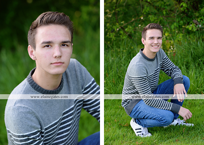 Mechanicsburg Central PA senior portrait photographer outdoor boy guy path rocks covered bridge messiah college wooden beams water stream creek grass brick steps field chair hello jm 05