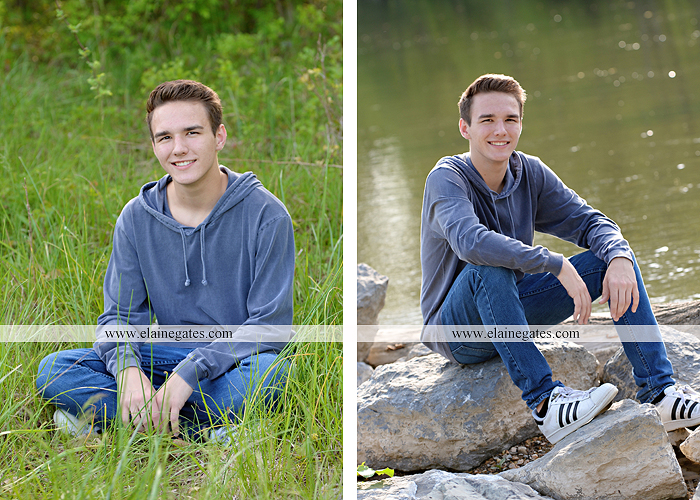 Mechanicsburg Central PA senior portrait photographer outdoor boy guy path rocks covered bridge messiah college wooden beams water stream creek grass brick steps field chair hello jm 06