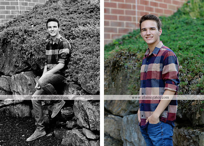 Mechanicsburg Central PA senior portrait photographer outdoor boy guy path rocks covered bridge messiah college wooden beams water stream creek grass brick steps field chair hello jm 07