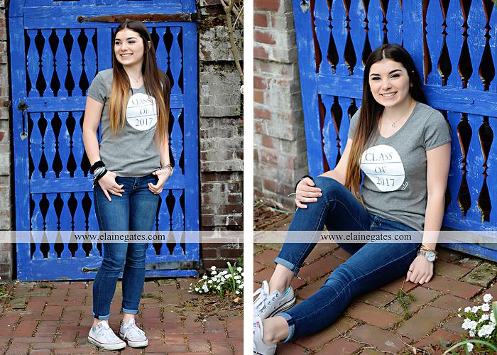 Mechanicsburg Central PA senior portrait photographer outdoor girl female Venue Chilton brick wall stone wall iron gate road trees steps MASH mechanicsburg area school district ed 2