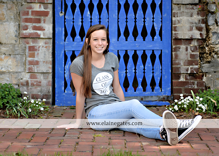 Mechanicsburg Central PA senior portrait photographer outdoor girl female Venue Chilton brick wall stone wall stone arch steps iron gate Northern high school kc 1