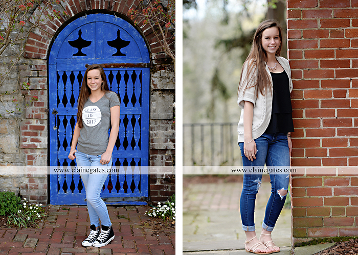Mechanicsburg Central PA senior portrait photographer outdoor girl female Venue Chilton brick wall stone wall stone arch steps iron gate Northern high school kc 2