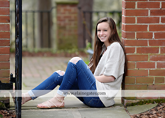Mechanicsburg Central PA senior portrait photographer outdoor girl female Venue Chilton brick wall stone wall stone arch steps iron gate Northern high school kc 3