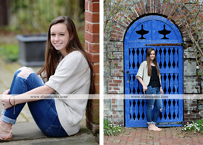 Mechanicsburg Central PA senior portrait photographer outdoor girl female Venue Chilton brick wall stone wall stone arch steps iron gate Northern high school kc 4