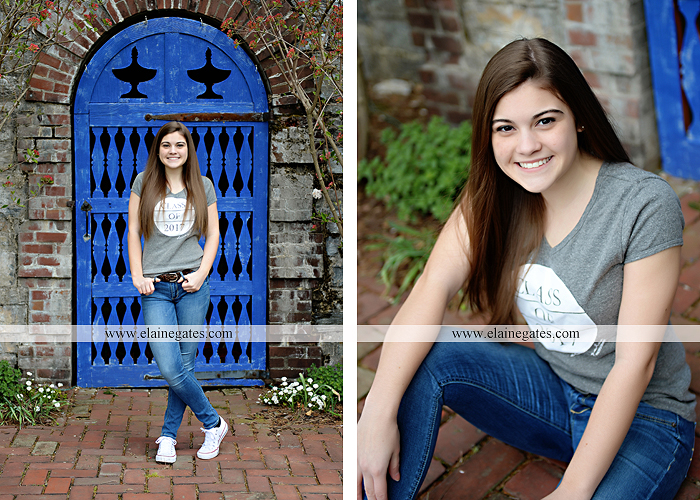 Mechanicsburg Central PA senior portrait photographer outdoor girl female Venue Chilton brick wall stone wall stone arch steps iron gate  red land high school RLHS k 1