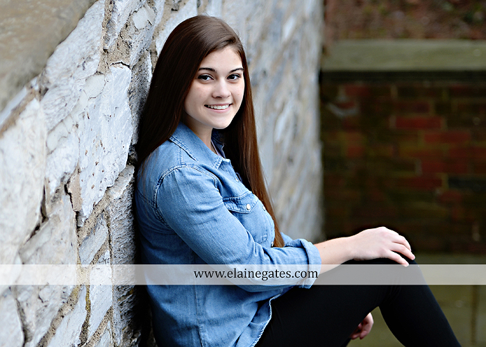 Mechanicsburg Central PA senior portrait photographer outdoor girl female Venue Chilton brick wall stone wall stone arch steps iron gate  red land high school RLHS k 2