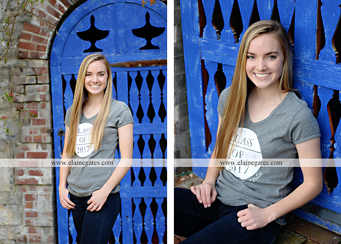 Mechanicsburg Central PA senior portrait photographer outdoor girl female Venue Chilton road trees brick wall stone wall stone arch steps iron gate MASH mechanicsburg area senior high nl 3