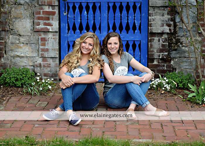 Mechanicsburg Central PA senior portrait photographer outdoor girl female Venue Chilton road trees brick wall stone wall stone arch steps iron gate trinity high school hedge row shrubs pw 2