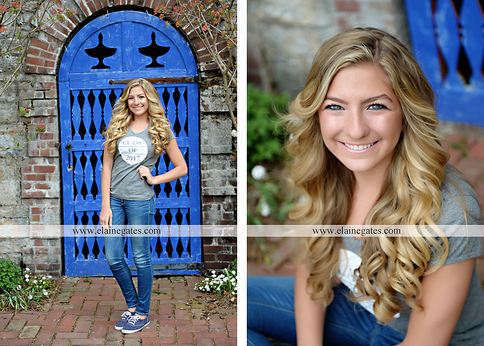 Mechanicsburg Central PA senior portrait photographer outdoor girl female Venue Chilton road trees brick wall stone wall stone arch steps iron gate trinity high school hedge row shrubs pw 3