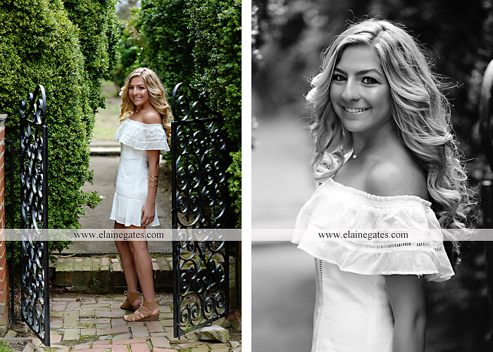 Mechanicsburg Central PA senior portrait photographer outdoor girl female Venue Chilton road trees brick wall stone wall stone arch steps iron gate trinity high school hedge row shrubs pw 4