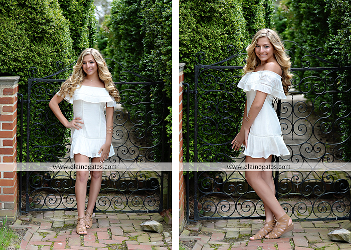Mechanicsburg Central PA senior portrait photographer outdoor girl female Venue Chilton road trees brick wall stone wall stone arch steps iron gate trinity high school hedge row shrubs pw 5