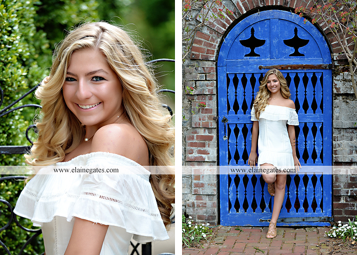 Mechanicsburg Central PA senior portrait photographer outdoor girl female Venue Chilton road trees brick wall stone wall stone arch steps iron gate trinity high school hedge row shrubs pw 6