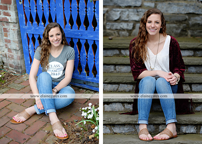 Mechanicsburg Central PA senior portrait photographer outdoor girl female Venue Chilton road trees brick wall stone wall stone arch steps iron gate trinity high school hedge row shrubs tk 2