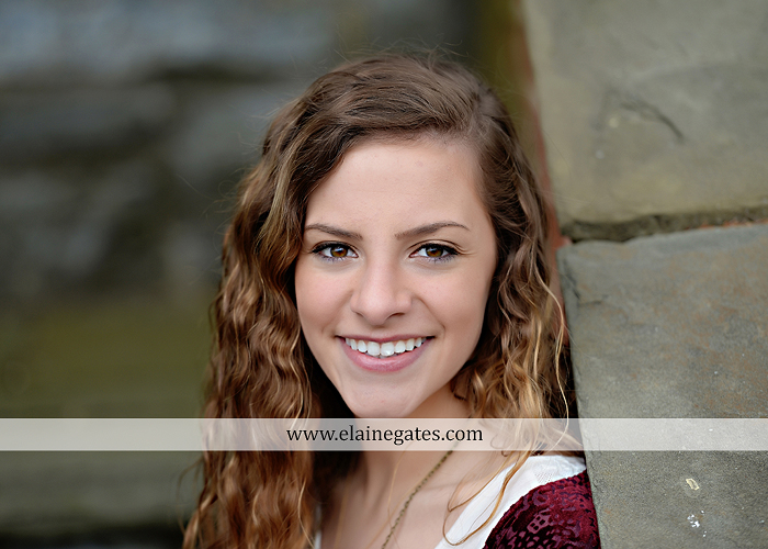 Mechanicsburg Central PA senior portrait photographer outdoor girl female Venue Chilton road trees brick wall stone wall stone arch steps iron gate trinity high school hedge row shrubs tk 3