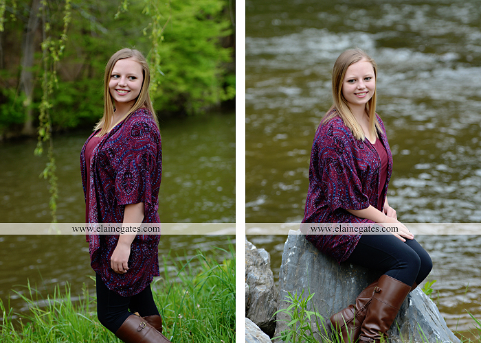 Mechanicsburg Central PA senior portrait photographer outdoor girl female field grass trees flowers road fence water stream creek rock mother mom as 7