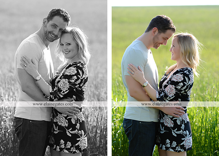 Mechanicsburg Central PA engagement portrait photographer outdoor road field trees water stream creek fence holding hands hug kiss at 3