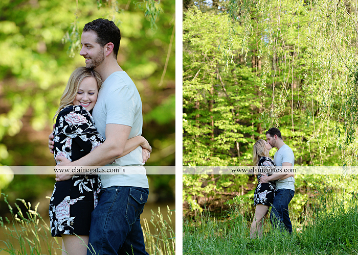 Mechanicsburg Central PA engagement portrait photographer outdoor road field trees water stream creek fence holding hands hug kiss at 4