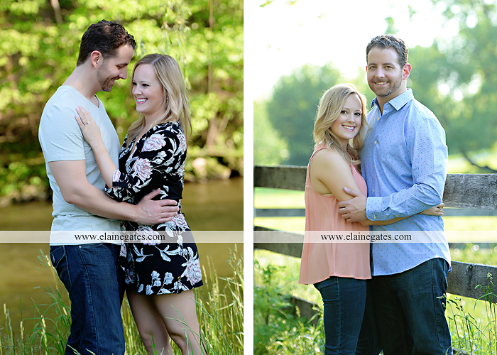 Mechanicsburg Central PA engagement portrait photographer outdoor road field trees water stream creek fence holding hands hug kiss at 5
