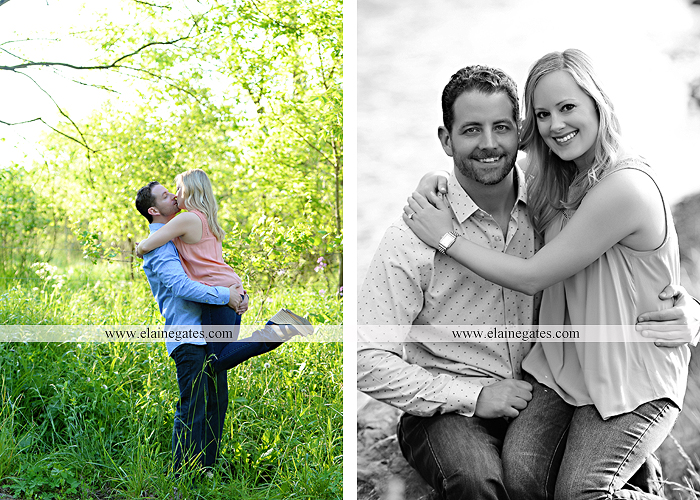 Mechanicsburg Central PA engagement portrait photographer outdoor road field trees water stream creek fence holding hands hug kiss at 7