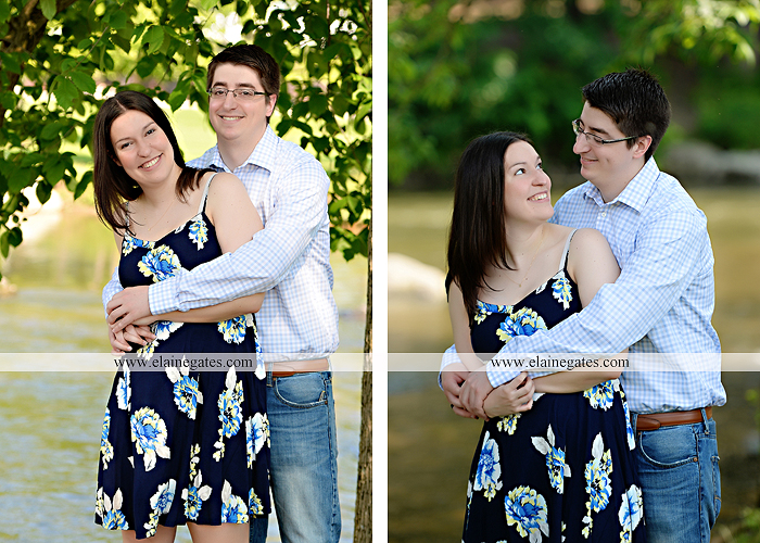 Mechanicsburg Central PA engagement portrait photographer outdoor water stream creek trees path bridge covered bridge messiah college hug kiss tt 1