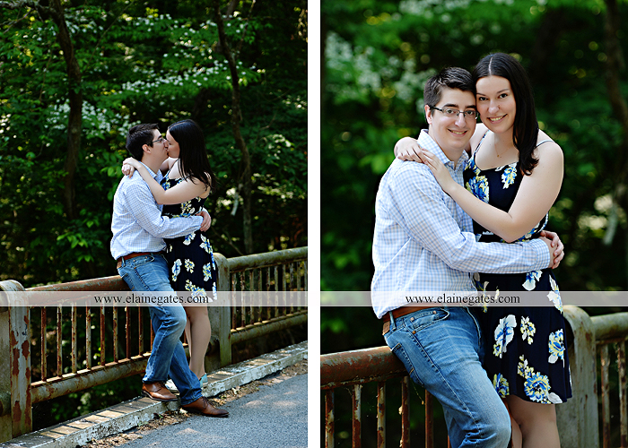 Mechanicsburg Central PA engagement portrait photographer outdoor water stream creek trees path bridge covered bridge messiah college hug kiss tt 6