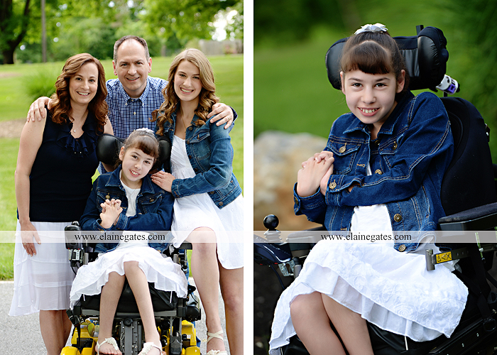 Mechanicsburg Central PA family portrait photographer outdoor children daughters sisters mother father grass trees road wheelchair hug kiss dk 11