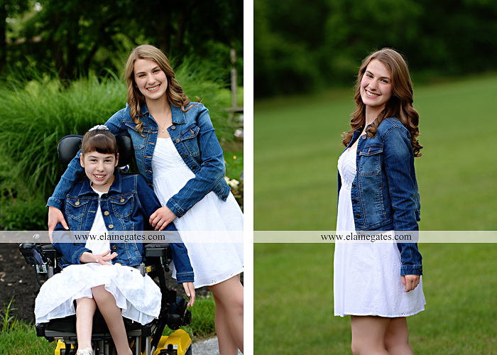 Mechanicsburg Central PA family portrait photographer outdoor children daughters sisters mother father grass trees road wheelchair hug kiss dk 13