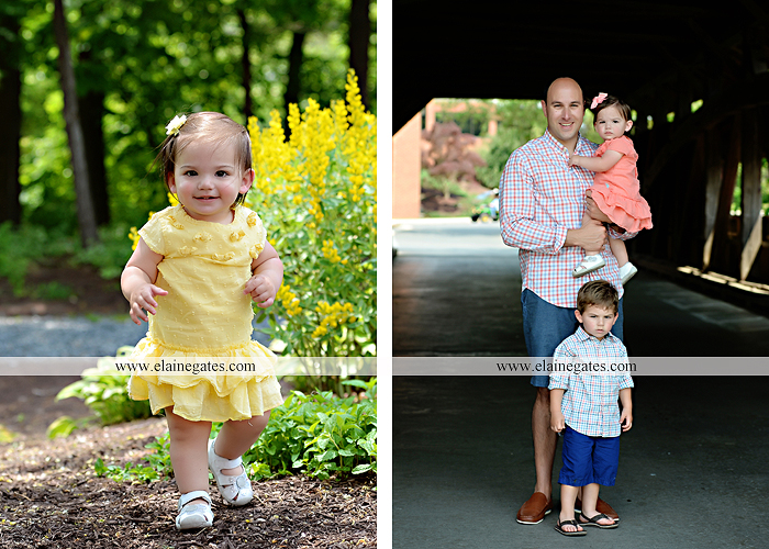 Mechanicsburg Central PA family portrait photographer outdoor children kids mother father grass trees water stream creek rocks covered bridge messiah college wildflowers wooden beams sf11