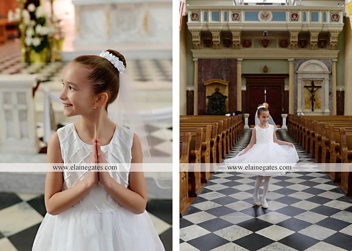 Mechanicsburg Central PA portrait photographer outdoor indoor church stained glass window pews steps door prayer first holy communion rosary beads st. patrick cathedral harrisburg ad 10