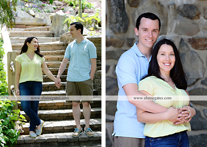 Mechanicsburg Central PA engagement portrait photographer hotel hershey outdoor steps stairs dog grass stone wall pillars hug kiss holding hands fountain water indoor balcony nr 02
