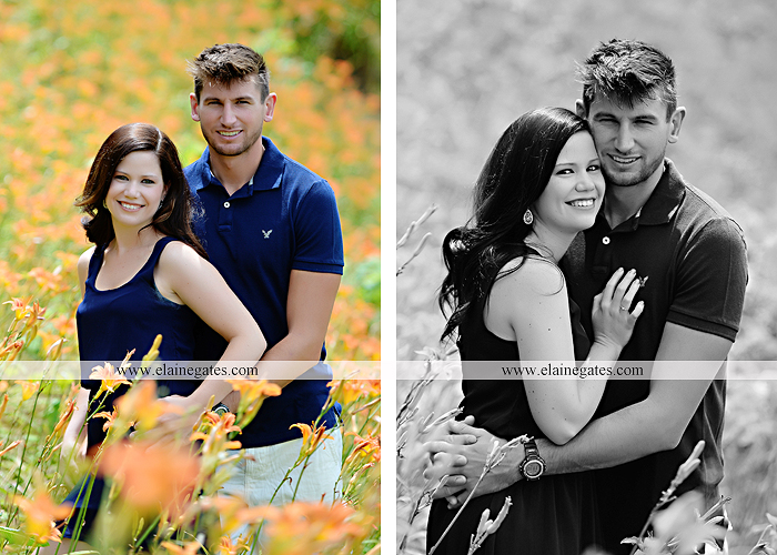Mechanicsburg Central PA engagement portrait photographer outdoor orchard vineyard trees wildflowers fence field wood wall hug kiss holding hands mustang car aw 04