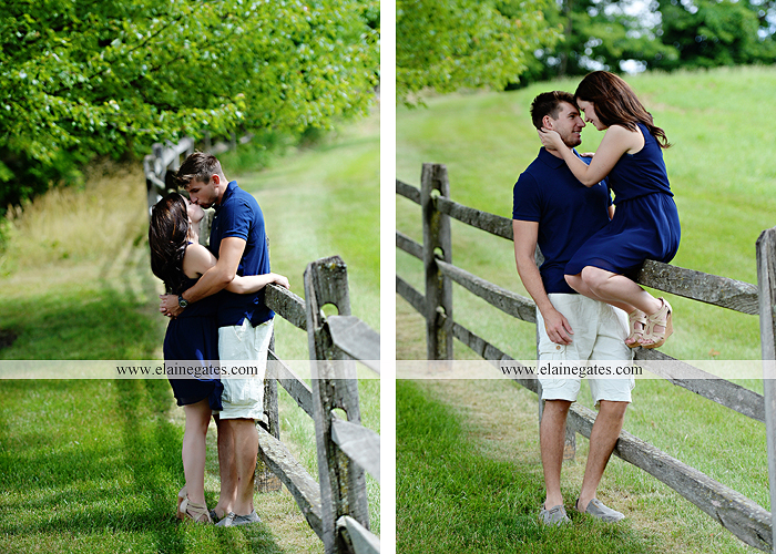 Mechanicsburg Central PA engagement portrait photographer outdoor orchard vineyard trees wildflowers fence field wood wall hug kiss holding hands mustang car aw 06