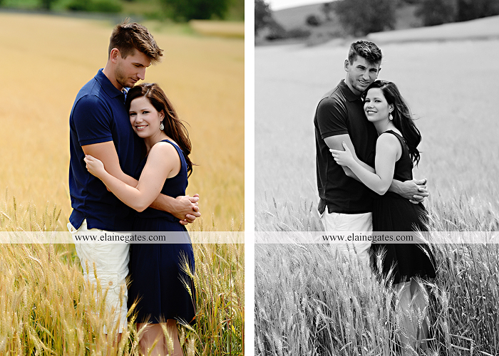 Mechanicsburg Central PA engagement portrait photographer outdoor orchard vineyard trees wildflowers fence field wood wall hug kiss holding hands mustang car aw 12