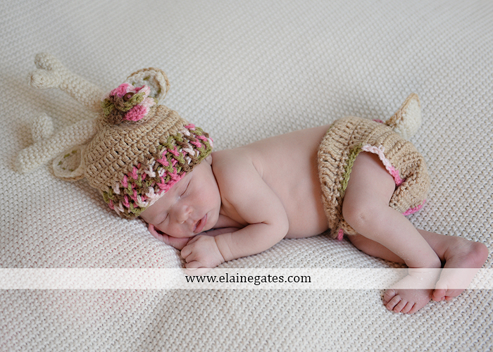 Mechanicsburg Central PA newborn baby portrait photographer girl sleeping blanket knit hat bow pink jb 12