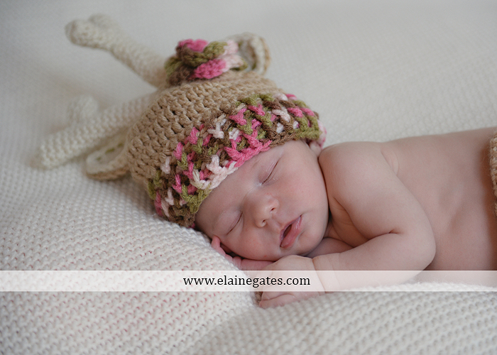 Mechanicsburg Central PA newborn baby portrait photographer girl sleeping blanket knit hat bow pink jb 13