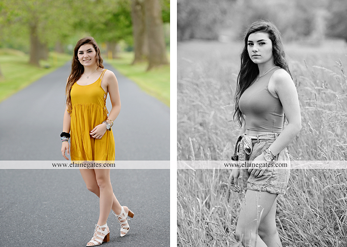 Mechanicsburg Central PA senior portrait photographer outdoor girl formal grass bench swing hammock wildflowers road field fence tree creek brick wall gate doorway steps staircase windows ed07