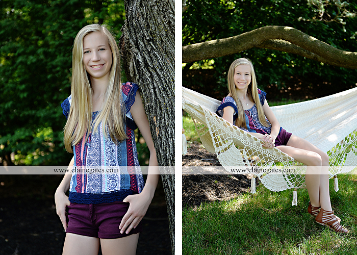 Mechanicsburg Central PA senior portrait photographer outdoor girl formal swing hammock iron bench grass field chair bow road tree water stream creek fence hw 2