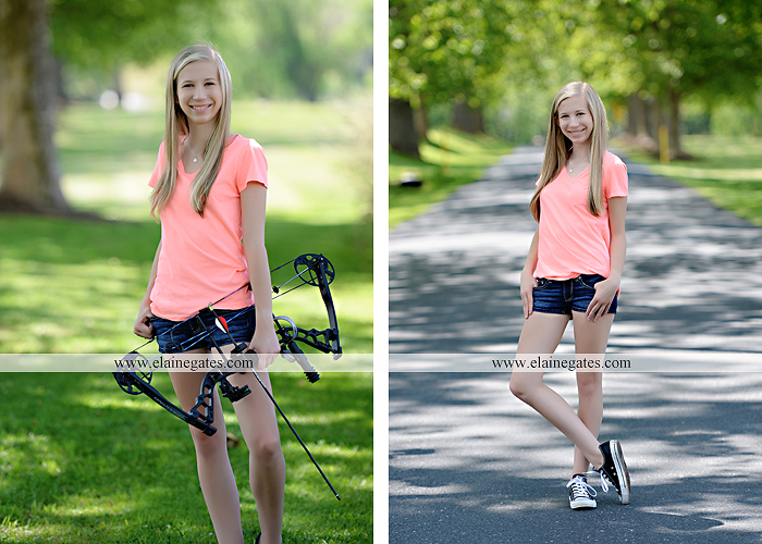 Mechanicsburg Central PA senior portrait photographer outdoor girl formal swing hammock iron bench grass field chair bow road tree water stream creek fence hw 5