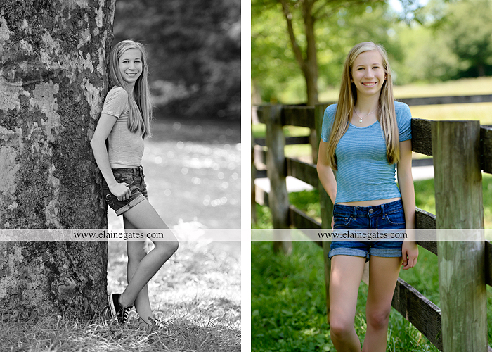 Mechanicsburg Central PA senior portrait photographer outdoor girl formal swing hammock iron bench grass field chair bow road tree water stream creek fence hw 7