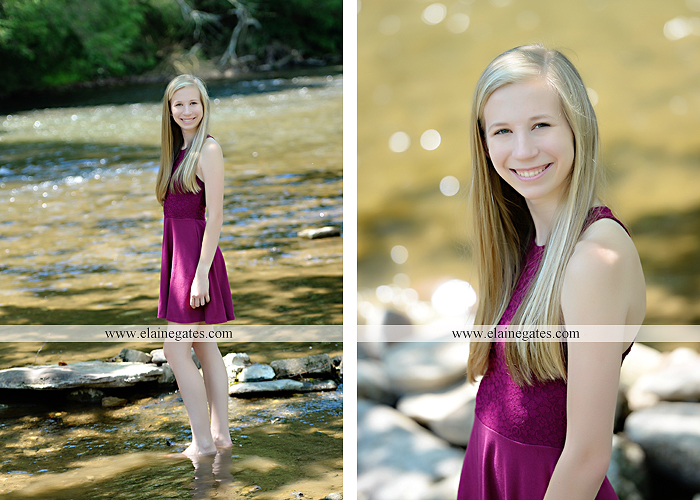Mechanicsburg Central PA senior portrait photographer outdoor girl formal swing hammock iron bench grass field chair bow road tree water stream creek fence hw 9