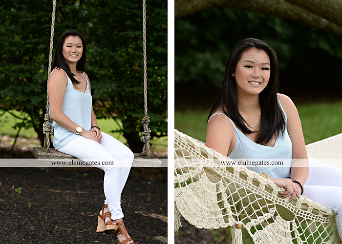 Mechanicsburg Central PA senior portrait photographer outdoor girl formal swing hammock iron bench grass wildflowers road train steps trees shore water stream creek bk 02