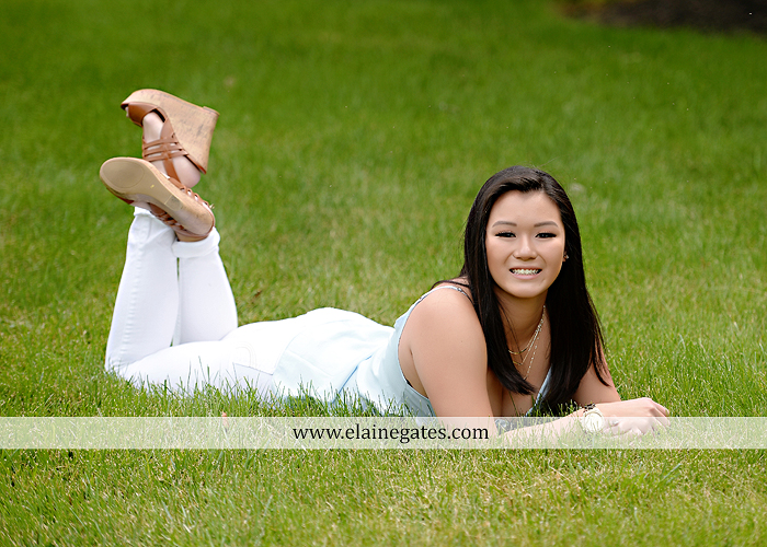 Mechanicsburg Central PA senior portrait photographer outdoor girl formal swing hammock iron bench grass wildflowers road train steps trees shore water stream creek bk 05
