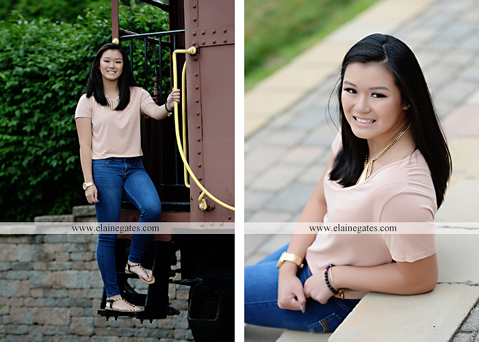 Mechanicsburg Central PA senior portrait photographer outdoor girl formal swing hammock iron bench grass wildflowers road train steps trees shore water stream creek bk 09