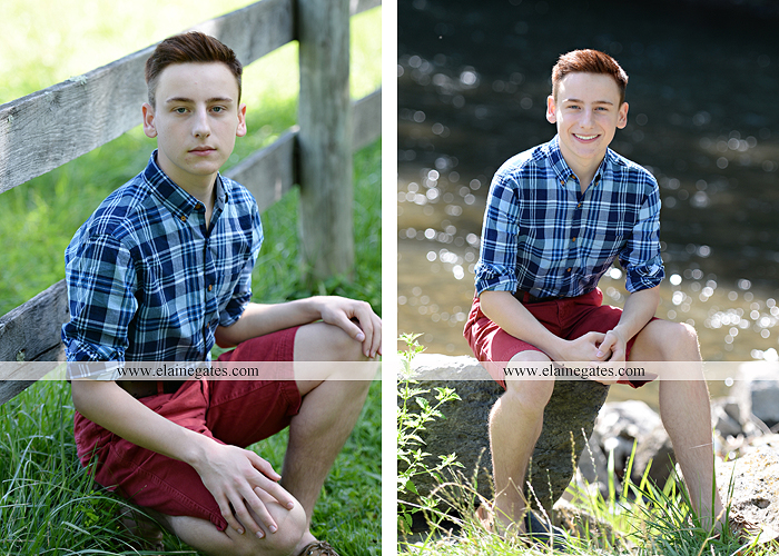 Mechanicsburg Central PA senior portrait photographer outdoor guy male formal road grass tree field water creek stream fence rocks nc 5