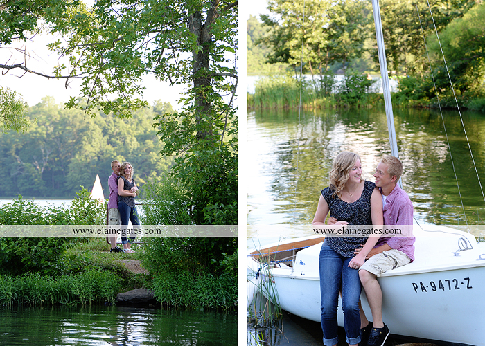 Mechanicsburg Central PA engagement portrait photographer outdoor dock water lake trees path sail boat ring hug kiss canoes pinchot state park ml 5