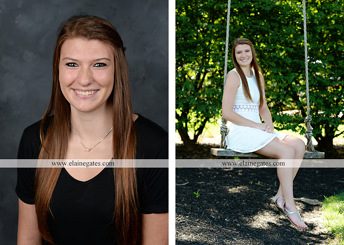 Mechanicsburg Central PA senior portrait photographer outdoor girl female formal swing iron bench tree hammock grass wildflowers field millers burg basketball road water stream creek fence rocks kb 01