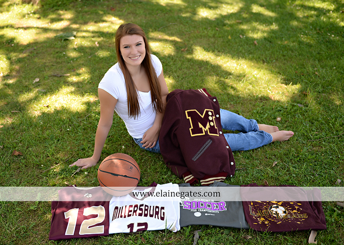 Mechanicsburg Central PA senior portrait photographer outdoor girl female formal swing iron bench tree hammock grass wildflowers field millers burg basketball road water stream creek fence rocks kb 07