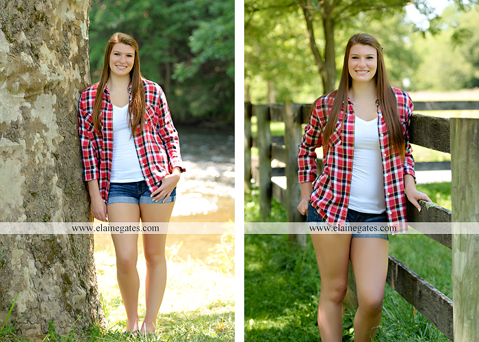 Mechanicsburg Central PA senior portrait photographer outdoor girl female formal swing iron bench tree hammock grass wildflowers field millers burg basketball road water stream creek fence rocks kb 09